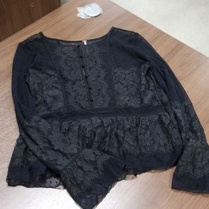 Free people black lace top large